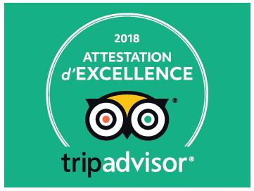 Attestation d'Excellence 2018 sur TripAdvisor